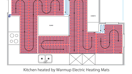 kitchen underfloor heating layout
